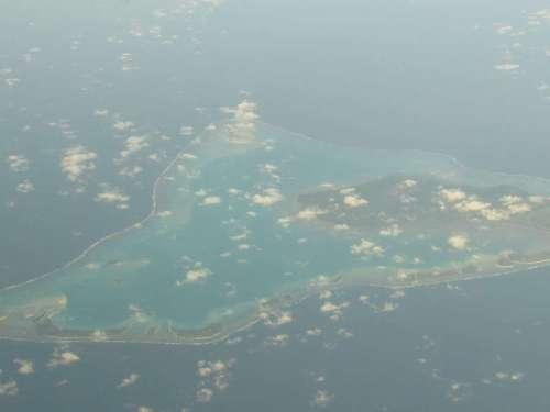 Aitutaki - a coral atoll as seen on descent into Rarotonga